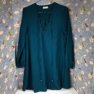 Altard state turquoise tunic lace up dress Sz m